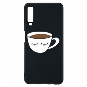 Phone case for Samsung A7 2018 Cup of coffee with closed eyes - PrintSalon