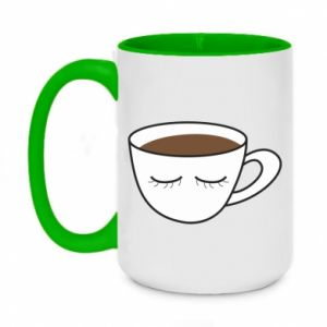 Two-toned mug 450ml Cup of coffee with closed eyes