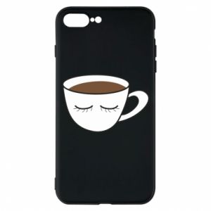 Phone case for iPhone 7 Plus Cup of coffee with closed eyes - PrintSalon