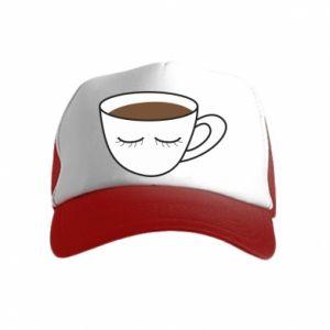 Czapka trucker dziecięca Cup of coffee with closed eyes