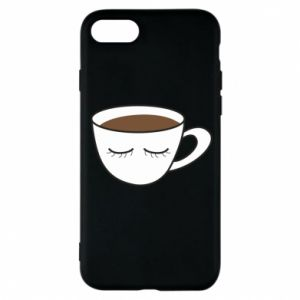 Phone case for iPhone 8 Cup of coffee with closed eyes - PrintSalon