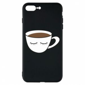 Phone case for iPhone 8 Plus Cup of coffee with closed eyes - PrintSalon
