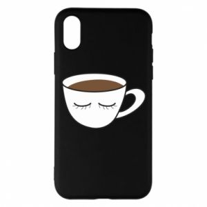 Phone case for iPhone X/Xs Cup of coffee with closed eyes - PrintSalon