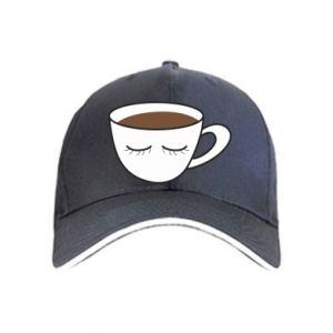 Cap Cup of coffee with closed eyes