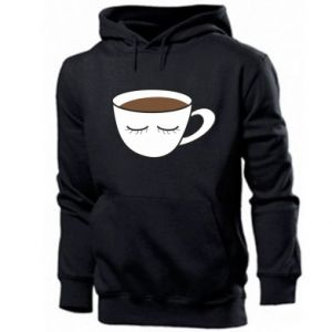 Men's hoodie Cup of coffee with closed eyes - PrintSalon