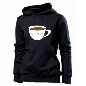 Women's hoodies Cup of coffee with closed eyes