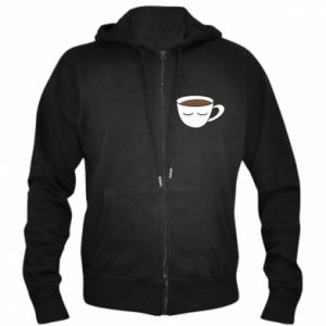 Men's zip up hoodie Cup of coffee with closed eyes
