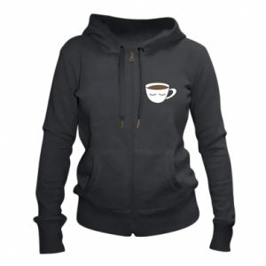 Women's zip up hoodies Cup of coffee with closed eyes