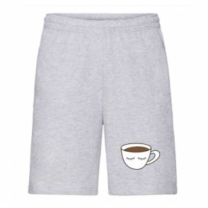 Men's shorts Cup of coffee with closed eyes - PrintSalon