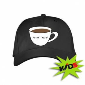 Kids' cap Cup of coffee with closed eyes - PrintSalon