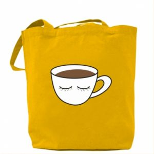 Bag Cup of coffee with closed eyes