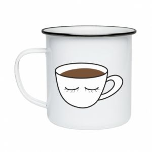Enameled mug Cup of coffee with closed eyes