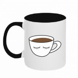 Two-toned mug Cup of coffee with closed eyes