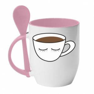 Mug with ceramic spoon Cup of coffee with closed eyes - PrintSalon