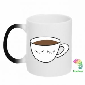 Chameleon mugs Cup of coffee with closed eyes