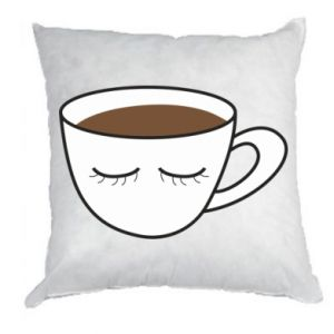 Pillow Cup of coffee with closed eyes - PrintSalon