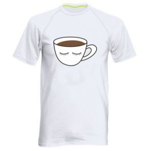 Men's sports t-shirt Cup of coffee with closed eyes