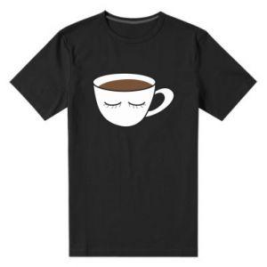 Męska premium koszulka Cup of coffee with closed eyes