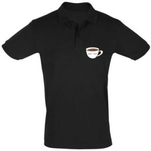 Men's Polo shirt Cup of coffee with closed eyes