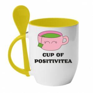 Mug with ceramic spoon Cup of positivitea - PrintSalon