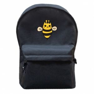 Backpack with front pocket Cute bee smile - PrintSalon