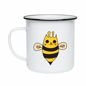 Enameled mug Cute bee smile - PrintSalon