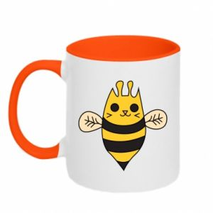 Two-toned mug Cute bee smile - PrintSalon