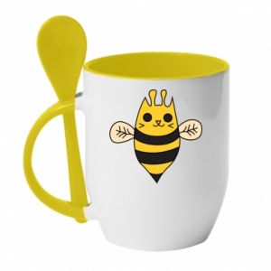 Mug with ceramic spoon Cute bee smile - PrintSalon