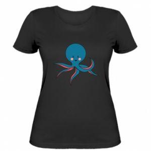 Women's t-shirt Cute blue octopus with a smile - PrintSalon