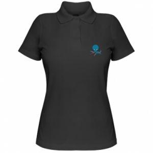 Women's Polo shirt Cute blue octopus with a smile - PrintSalon