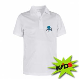 Children's Polo shirts Cute blue octopus with a smile - PrintSalon