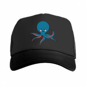 Trucker hat Cute blue octopus with a smile - PrintSalon
