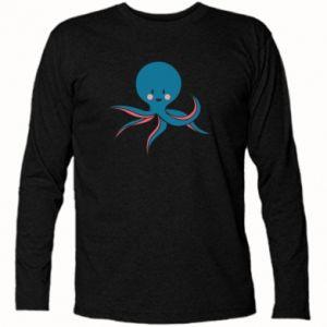 Long Sleeve T-shirt Cute blue octopus with a smile - PrintSalon