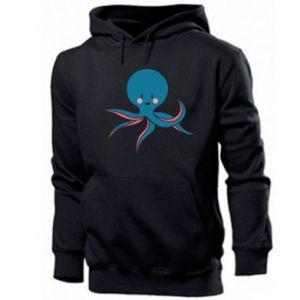 Men's hoodie Cute blue octopus with a smile - PrintSalon