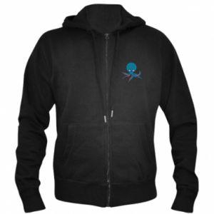 Men's zip up hoodie Cute blue octopus with a smile - PrintSalon