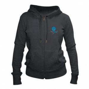 Women's zip up hoodies Cute blue octopus with a smile - PrintSalon