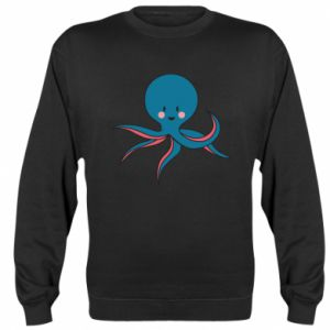 Sweatshirt Cute blue octopus with a smile - PrintSalon