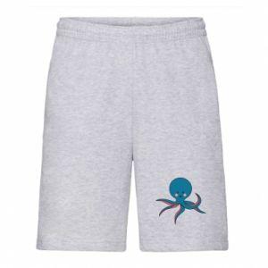 Men's shorts Cute blue octopus with a smile - PrintSalon