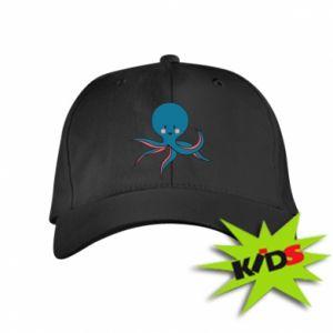 Kids' cap Cute blue octopus with a smile - PrintSalon