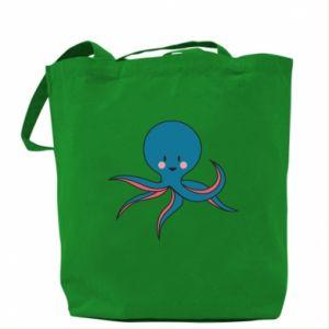 Bag Cute blue octopus with a smile - PrintSalon