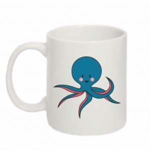 Kubek 330ml Cute blue octopus with a smile