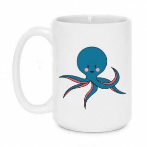 Mug 450ml Cute blue octopus with a smile - PrintSalon