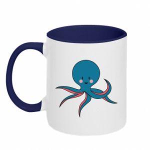 Two-toned mug Cute blue octopus with a smile - PrintSalon