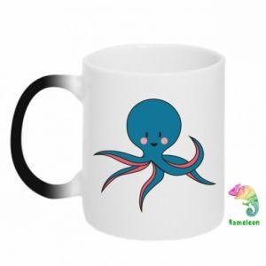 Chameleon mugs Cute blue octopus with a smile - PrintSalon
