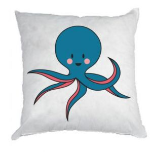 Pillow Cute blue octopus with a smile - PrintSalon