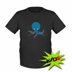 Kids T-shirt Cute blue octopus with a smile - PrintSalon