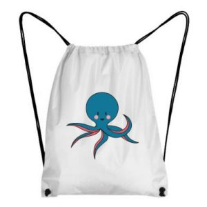 Backpack-bag Cute blue octopus with a smile - PrintSalon