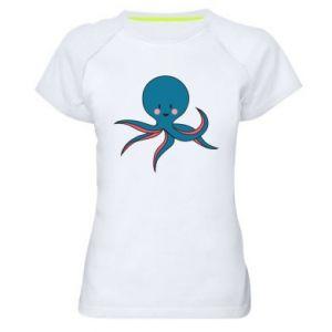 Women's sports t-shirt Cute blue octopus with a smile - PrintSalon