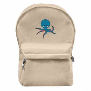 Backpack with front pocket Cute blue octopus with a smile - PrintSalon