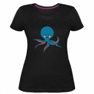Women's premium t-shirt Cute blue octopus with a smile - PrintSalon
